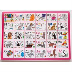 Dækkeserviet, abc – pink – girafprodukter